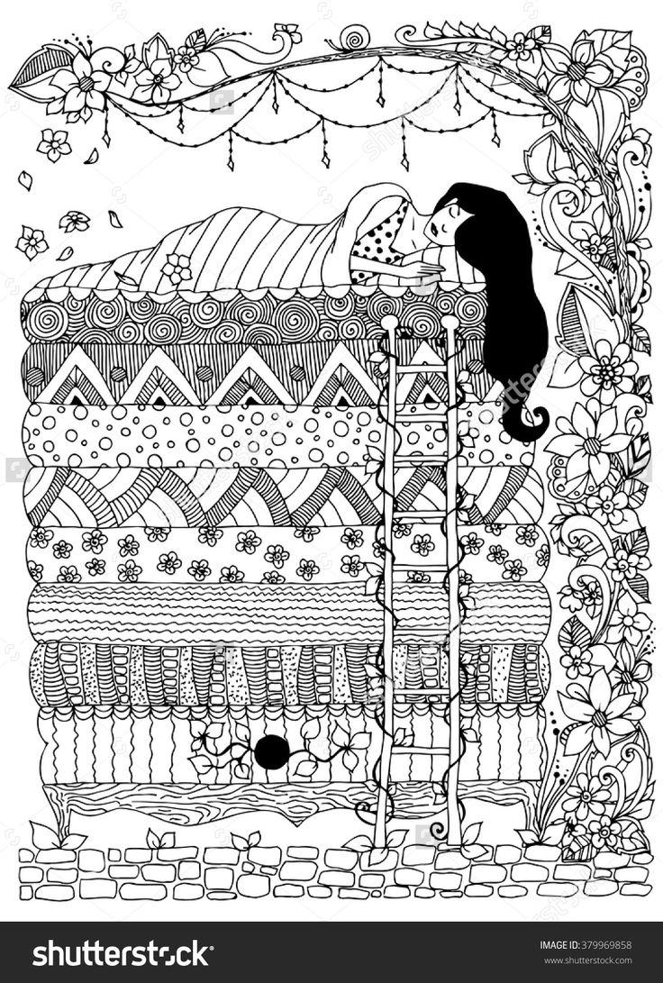 Princess and the Pea zentangle Fairytale illustration