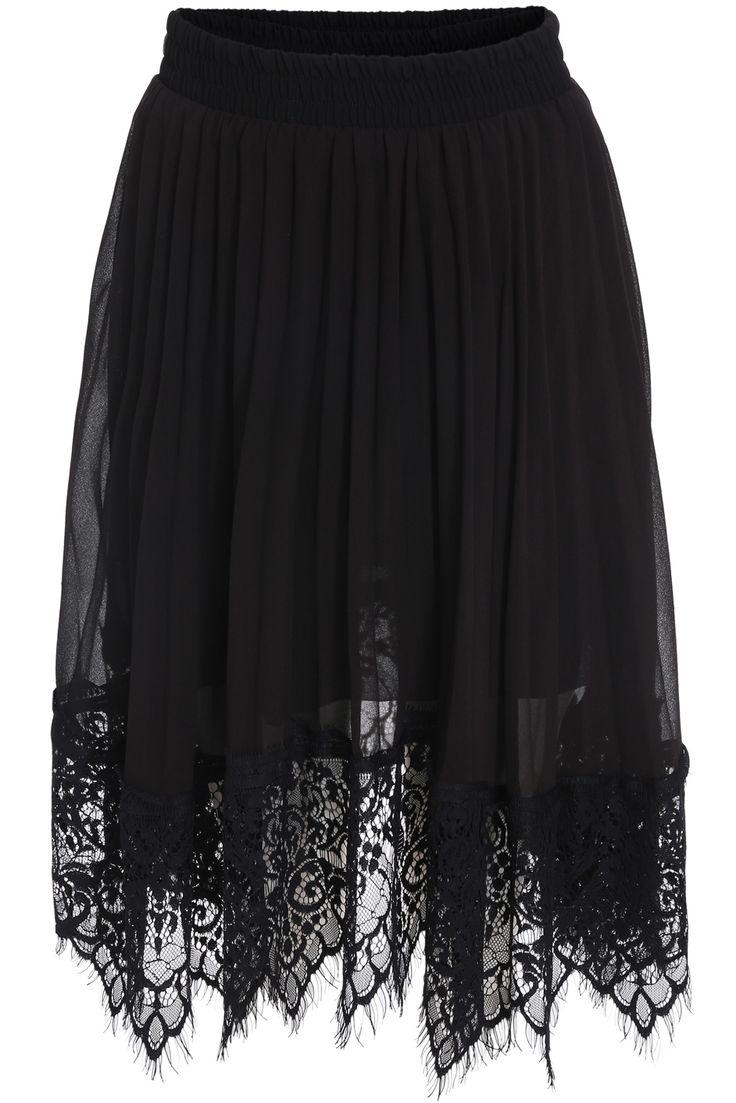 Black Elastic Waist Pleated Lace Skirt -SheIn(Sheinside)