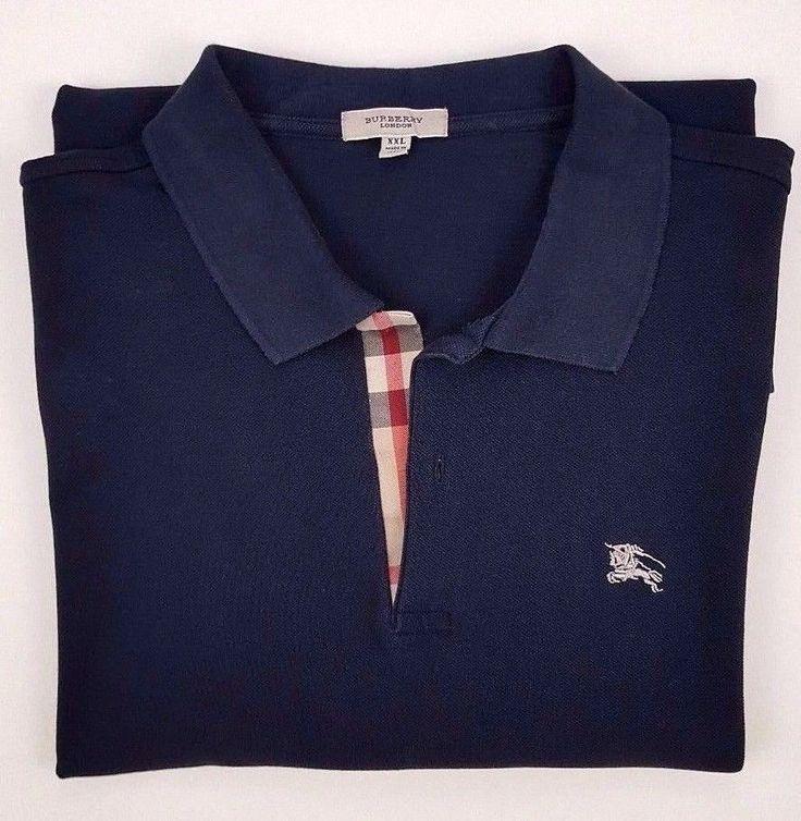 BURBERRY London 2XL Black POLO Shirt MENS Cotton ITALY Knight LOGO Size XXL Man* #BurberryLondon #PoloRugby
