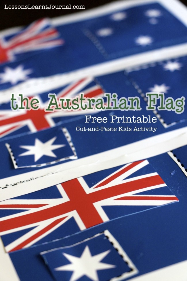 Australian Flag Free Printable and information on what is contained on the flag and why from LessonsLearntJournal