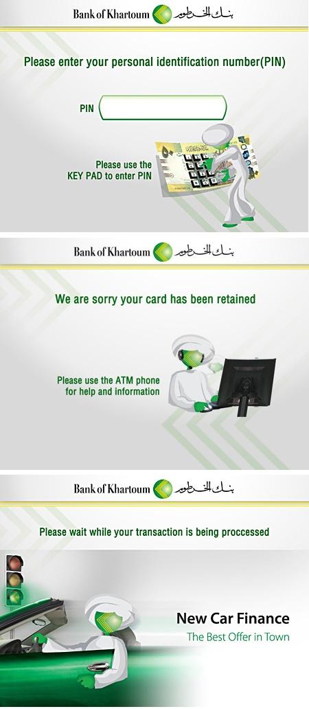 Bank of Khartoum - ATM Screens by Naumeena Suhail, via Behance