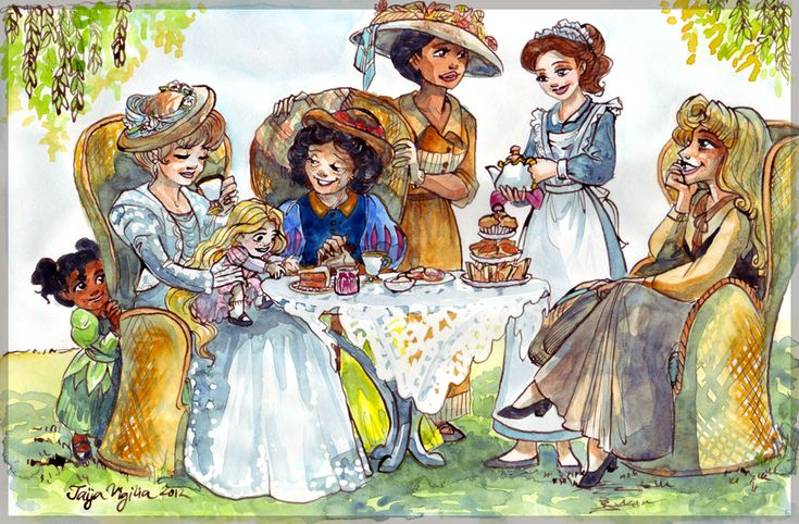 Tea time - The brief was to portray Disney princesses enjoying a little tea party but they all had to be portrayed the same age as their respective movies (for example Snow White would be 75 years old, Aurora 53, Belle 21, Rapunzel 2 etc).    I want a print of this!!!!