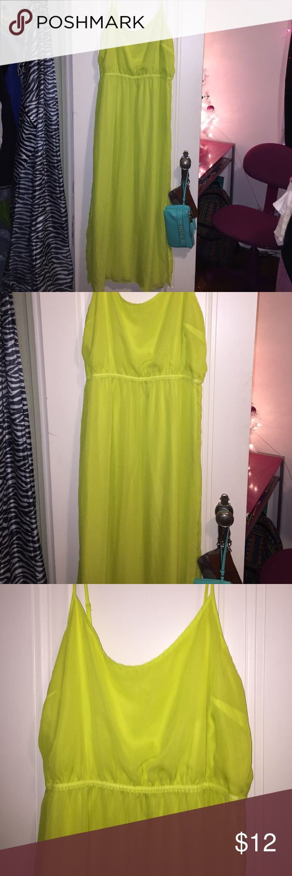 Old nav, Highlighter colored long maxi dress Highlighter colored. (Neon yellow) Maxi (long) flowy. Silky. Adjustable straps. Old Navy Dresses Maxi