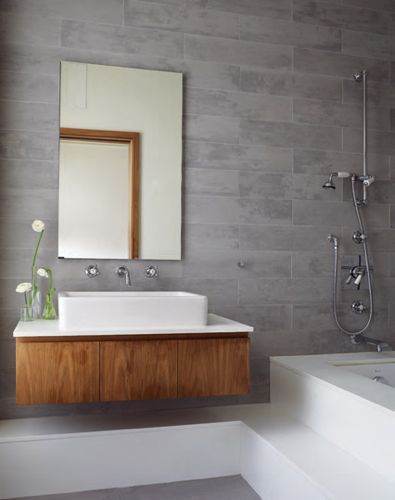 Uber-Stylish Townhouse in Prospect Heights, NY - master bath from Duravit, fixtures from Barber Wilsons & Co., Ltd of London