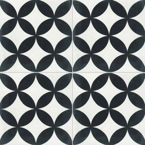 Carreau de ciment intérieur Palmette PREMIUM, blanc et noir, 20 x 20 cm