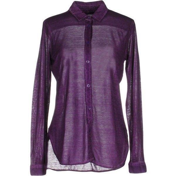 Majestic Shirt (2 965 SEK) ❤ liked on Polyvore featuring tops, purple, long sleeve tops, purple shirt, long sleeve jersey top, shirt top and purple long sleeve shirt