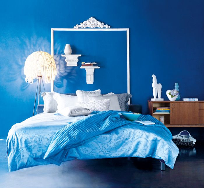Interior Design, Full Blue Interior In The Bedroom Design With Floating  Bed: Nice Interior Design Themes Tips For You