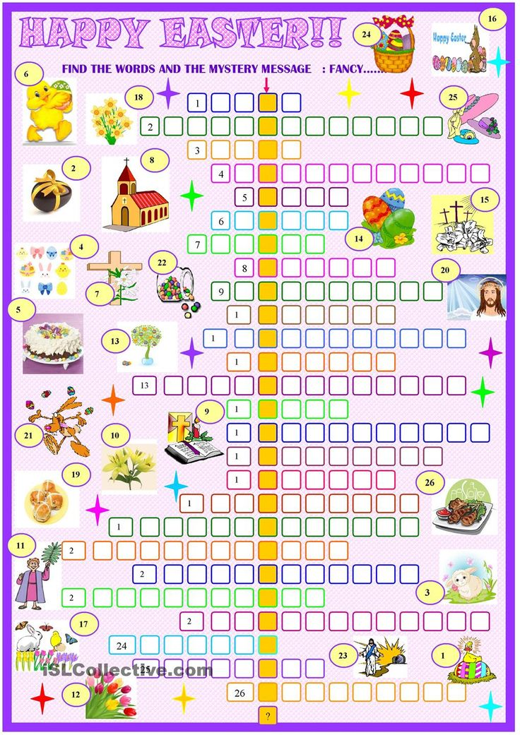 Easter:crossword puzzle. ESL worksheet of the day by sylviepieddaignel ...