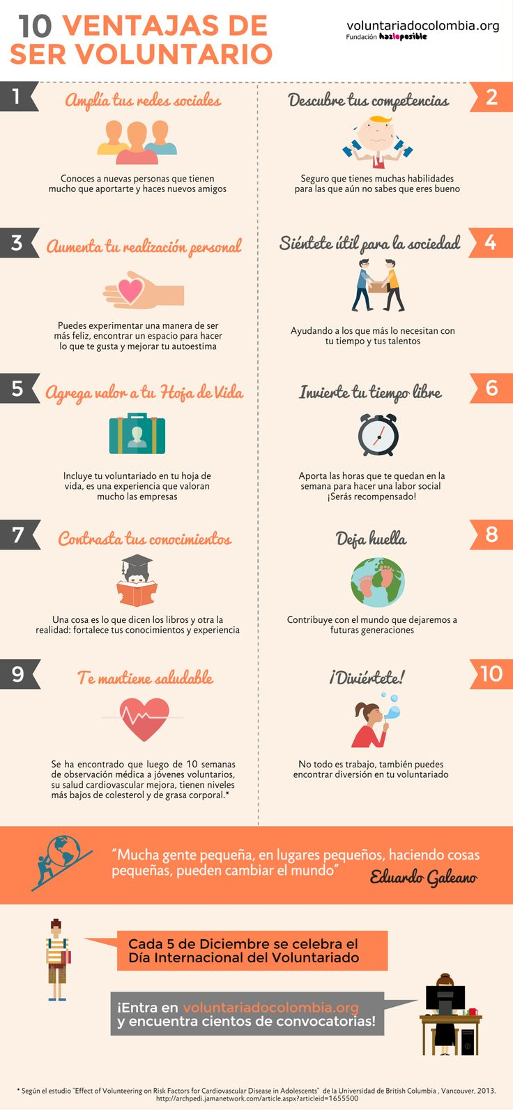 10 ventajas de ser voluntario #voluntariado. #solidaridad