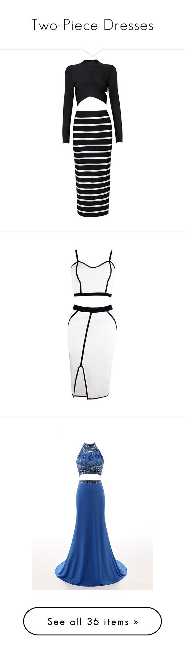 """""""Two-Piece Dresses"""" by purple-pandabear ❤ liked on Polyvore featuring dresses, vestidos, striped bandage dress, 2 piece dress, stripe dress, two piece bandage dress, two-piece dress, skirts, tops and white color dress"""