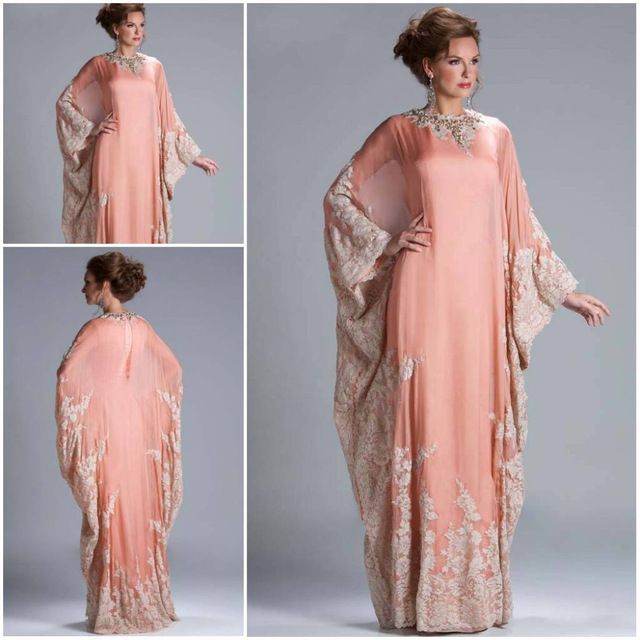 Custom Made Hot Sale Floor Length Chiffon Coral Lace Appliqued Arabic Dubai ABAYA Kaftan Evening Dresses with Long Sleeve JQ3309