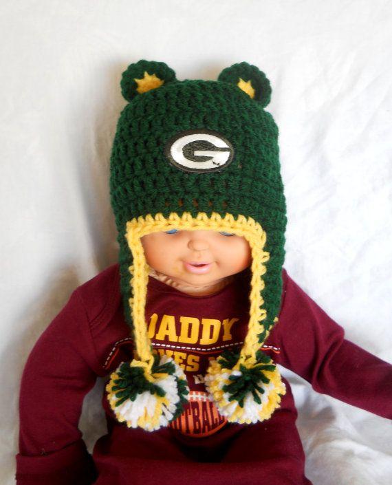 Green Bay Packers Inspired Crochet Baby Ear Flap Hat by CDBSTUDIO, $29.99