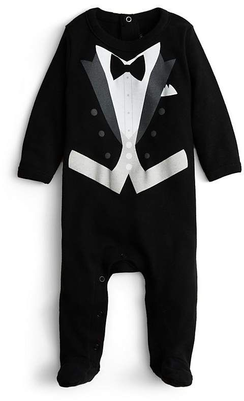 Sara Kety Boys' Black Tie Footie - Baby. Baby boy black suit. Baby boy formal wear. #affiliate