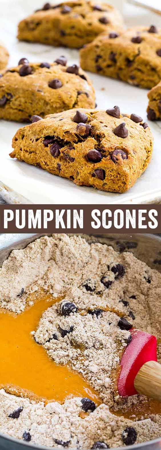 A lightened up pumpkin scones recipe with dark chocolate chips. Made with whole wheat flour, coconut sugar, and coconut oil for a healthier twist.