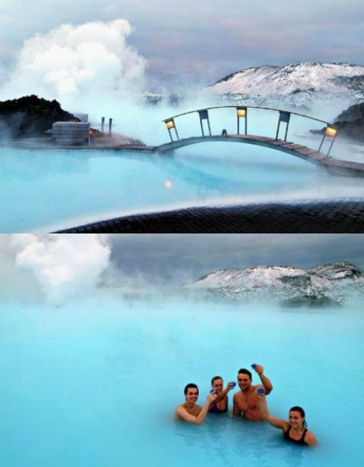 Blue Lagoon is a geothermal spa located on a lava field in Iceland. The beautiful lagoon holds 6 million litres of geothermal seawater, which originates 2000 metres (6562 feet) beneath the ground and is renewed every 40 hours. The water temperature ranges from 37-39°C (98-102°F) and is a beautiful blue due to the composition of different minerals, silica and algae in the water.