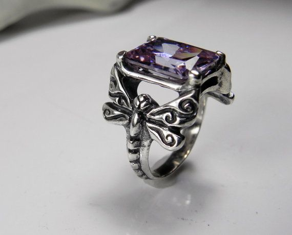 Dragonfly Ring - Light Amethyst Gemstone Dragonfly Ring - Unique Dragonfly Jewelry - Vintage Inspired on Etsy, $115.00
