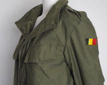 LENTE SALE 90 's Belgisch leger jas - groene leger Parka - Seyntex jas