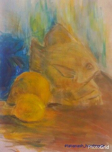 Fish and lemons.  Oilpastel, 2013