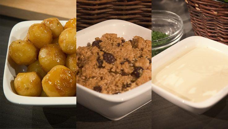 Lytternes tilbehør til ribbe og pinnekjøtt - Karamelliserte poteter, søst og rømme med honning.NRK