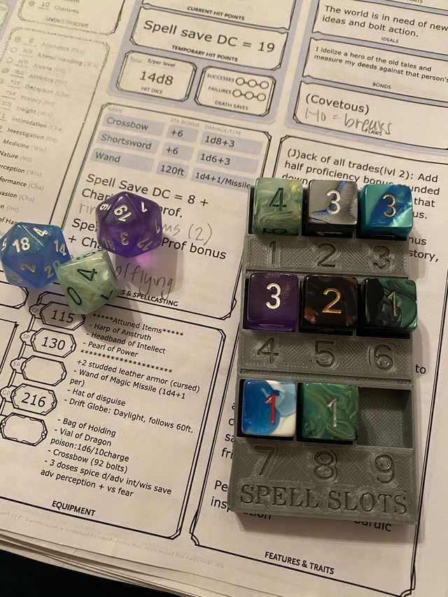D D Spell Slot Counter Gaming Post In 2020 Dungeons And Dragons Dnd Geek Culture Tidebinder's driftglobe drops from abyssal commander sivara in the eternal palace. pinterest