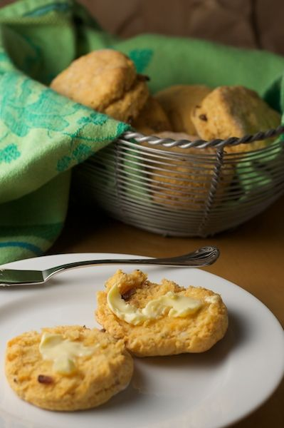 Sweet Potato Biscuits with Bacon and Thyme. Make these savory biscuits instead of rolls next time you want fresh bread with dinner! From PinchMySalt.com