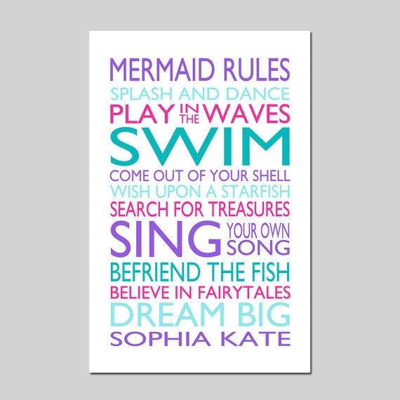 MERMAID RULES Quote Personalized Mermaid Decor Mermaid by Tessyla