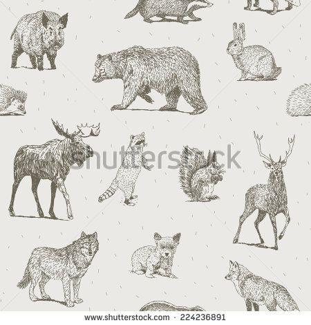 Animals drawings seamless pattern