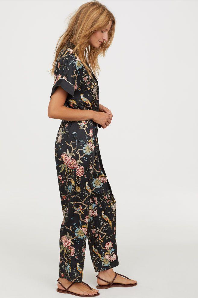 7ba4f113452 Patterned jumpsuit - Black Floral - Ladies