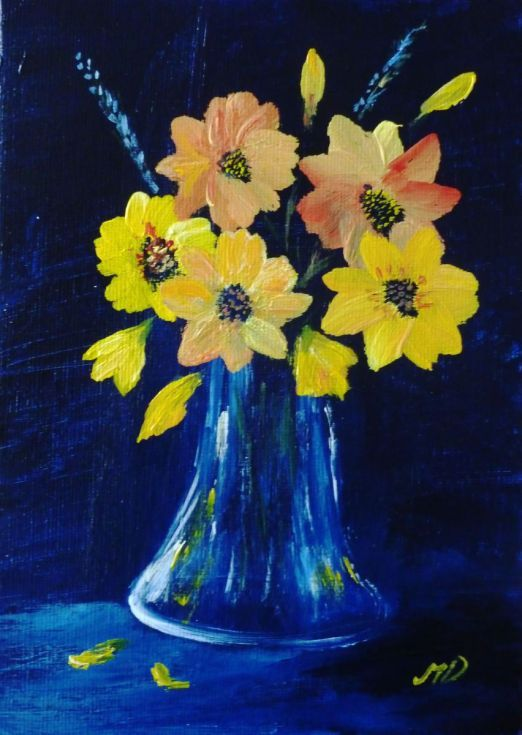 Buy Vase of Yellow flowers, Acrylic painting by Margaret Denholm on Artfinder. Discover thousands of other original paintings, prints, sculptures and photography from independent artists.