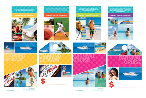 Travel America, a leader in travel incentives, was in need of a complete identity overhaul. Everything from logo, stationery system, 15 brochures, and Point of Sales materials
