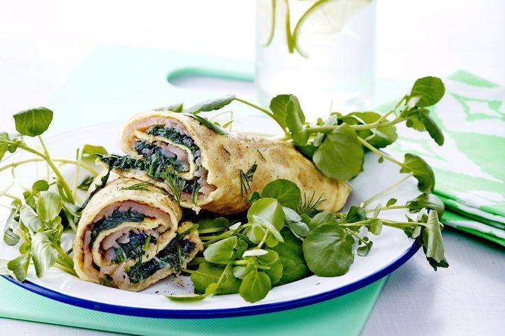 Æggerulle med spinat og laks