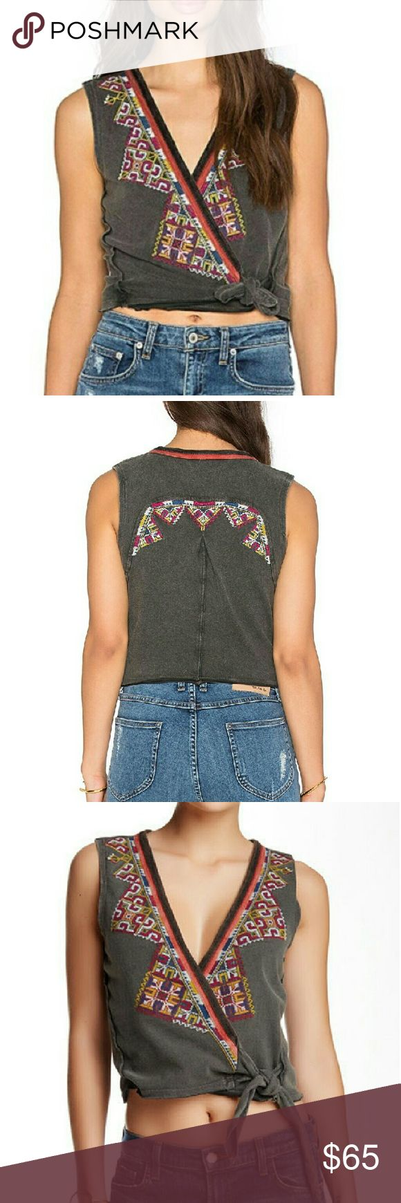"""Free People  """"Around The World Tank"""" NWT Free People Around The World Tank. Gorgeous cropped surplice top with needlepoint embroidery. Self tie closure. approx. 19' Length.  100% Cotton Free People Tops"""