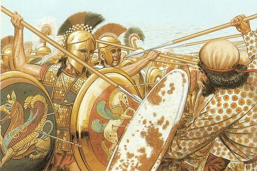 Battle of Marathon. Spartan Warriors vs. Persians.