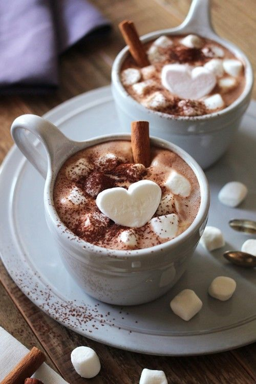 Hot cocoa - love the heart marshmallows! MAKE YOUR OWN!!!  Cut regular size marshmallow in half then using a canape heart cutter cut a heart marshmallow out of both pieces.  (Note: a cold cutter makes a cleaner cut and doesn't stick!) - Karen Chapman