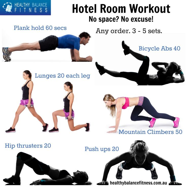 Keeping fit while you travel - Hotel room workout by Healthy Balance Fitness #travel #fitness #workout
