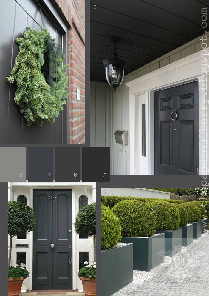The Paper Mulberry: Exterior Paint Shades - Part 2 Above images: 1.the deep grey (gray) front door of blogger 'I found my home' 2.the home of Jen Chu Design with a chic dark grey front door 3.Gloss grey contemporary planters with Buxus (Boxwood) ball topiary by Anouska Hempel Design 4.Smart dark grey Regency front door with white trim by London Door 5.'Off-Black' 57 Farrow and Ball 6.'Railings'31 Farrow and Ball 7.Down Pipe' 26 Farrow and Ball 8.'Plummett' 272 Farrow and Ball