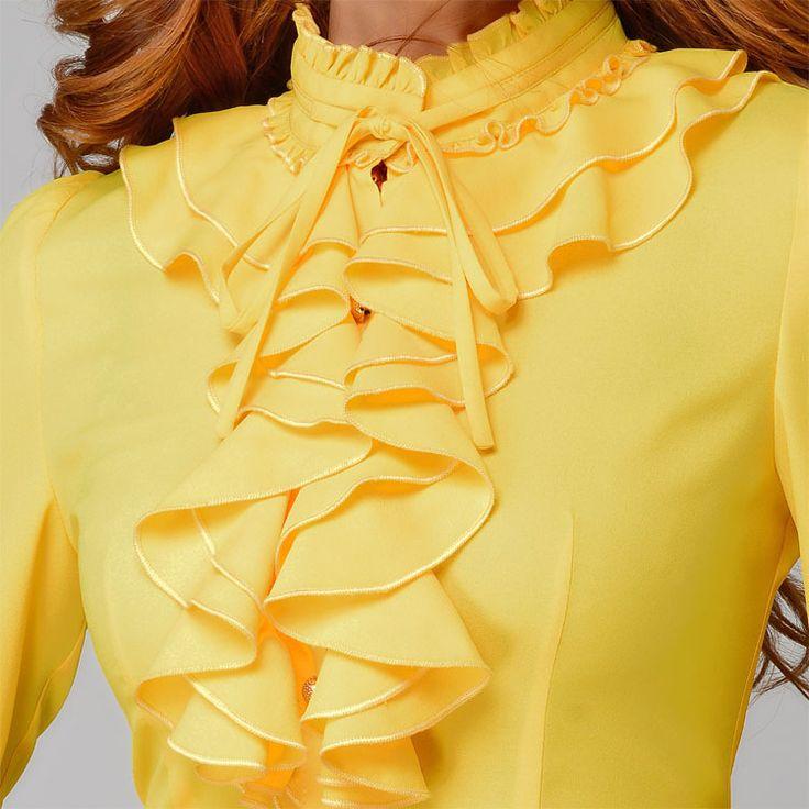 Moda gola de manga comprida amarela feminina camisa OL escritório Formal elegante ruffles chiffon blusa plus size arco das mulheres tops em Blusas de Roupas e Acessórios no AliExpress.com | Alibaba Group