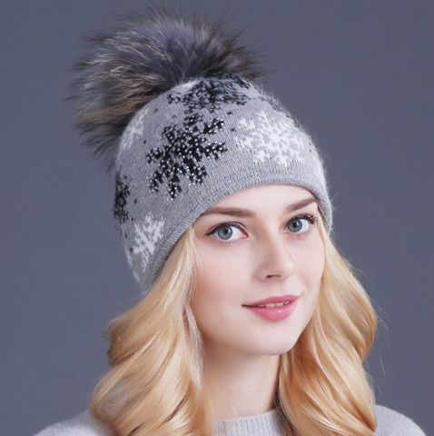 Christmas snowflake beanie hat for women wool knit bobble hats with ball on  top 761bcc37770