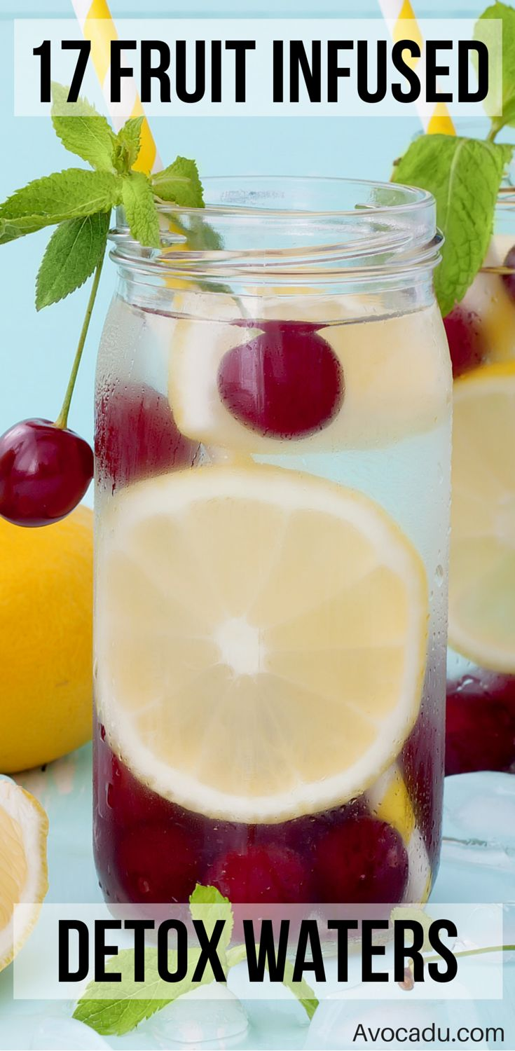 17 Fruit Infused Detox Water Recipes - These fruit infused waters will help you stay hydrated, get tons of nutrients, and even lose weight! They're a crucial part of any detox program, clean eating diet, or weightloss plan! And they're so easy to make! http://avocadu.com/17-fruit-infused-waters-that-are-both-beautiful-and-hydrating/
