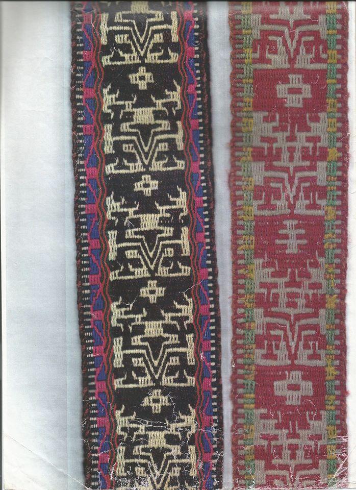 Fajas de mujer de uso ceremonial en lana de oveja, doble faz con flotantes alternos, diseño: lukutué (el arrodillado).Tejidas en Chile.