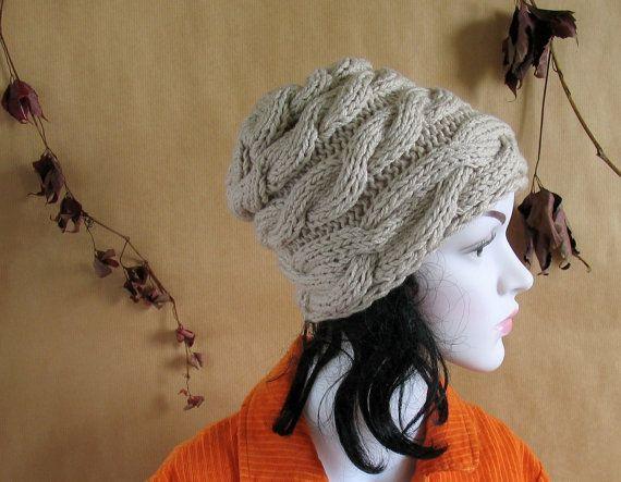 Oatmeal Hat Slouchy Beanie Knit Hat OATMEAL Women by recyclingroom