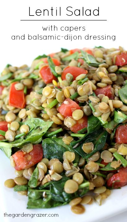 Lentil salad with spinach, capers, and a simple balsamic-dijon dressing. Amazing flavor, and great for packed lunches! (vegan, gluten-free) #vegan #recipes #vegetarian #recipe #easy