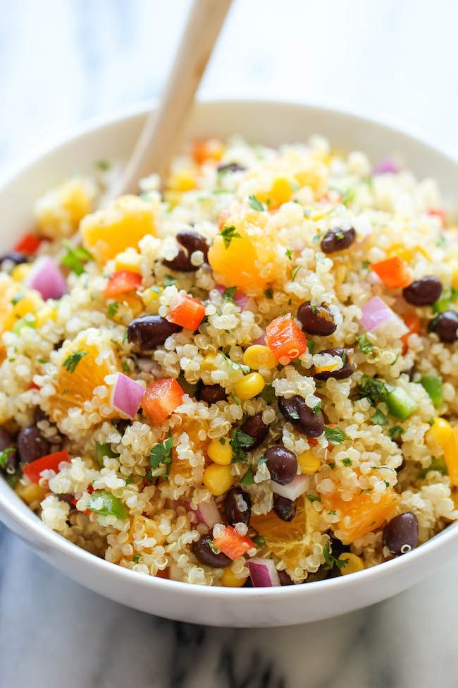 Black Bean Quinoa Salad - A light and healthy quinoa salad tossed in a refreshing orange vinaigrette, chockfull of protein and fiber!
