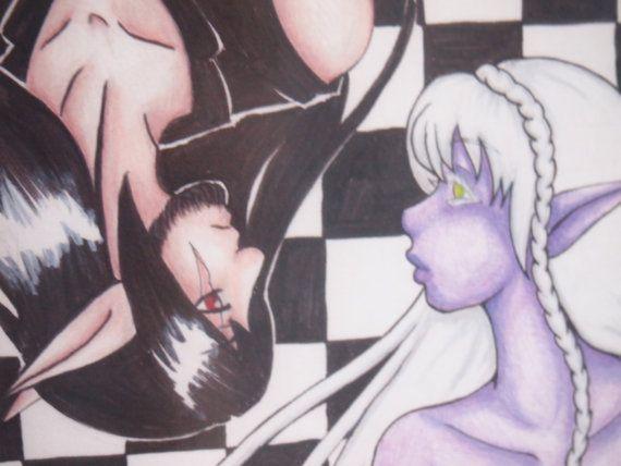 Elf Elves Chess background Nelf Fantasy Art Print by Anorichan