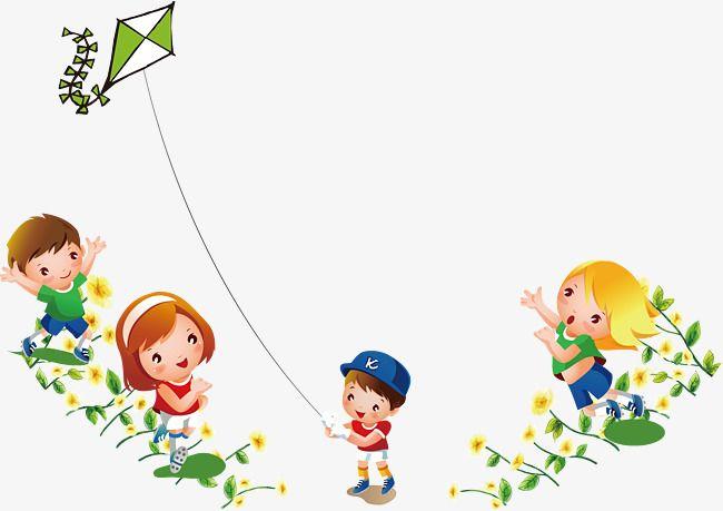 كرتون الفتى فتاة تلعب طائرة ورقية تحلق في الخلفية Cartoon Boy Cartoon Girls Play