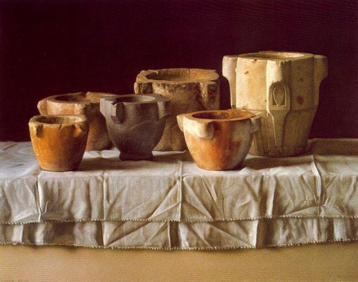 Morteros. 1982. Pastel sobre papel. 59,7 x 75,3 cm. Obra de Claudio Bravo