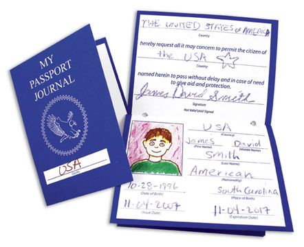 """R4230 All About Me Passports Ages 5  Travel the world without leaving your classroom. Passports are a great complement to geography and history lessons. Perfect for """"All About Me"""" projects. Develop social skills through group activities. When passports ar"""