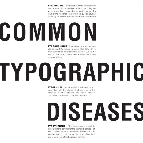Common Typographic Diseases Text Layouts by Zachary Autio, via Behance
