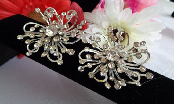 Large Floral Shaped Rhinestone Vintage Earrings Set in Silvertone with Silvertone Clip-On Clasps