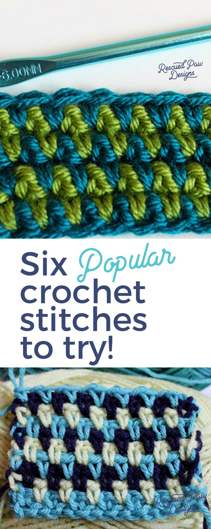 Six popular Crochet Stitches to Try! Click to Try today or Pin and Save for Later!